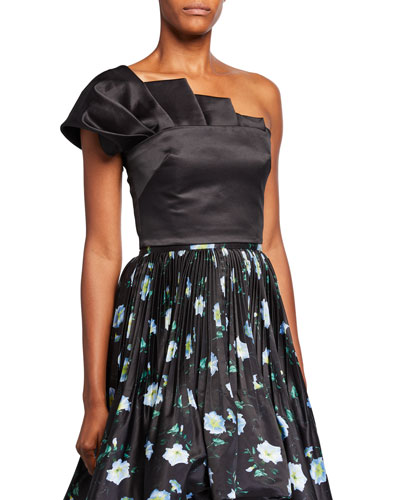 Collins Tiz Asymmetrical Crop Top w/ Pleated Front