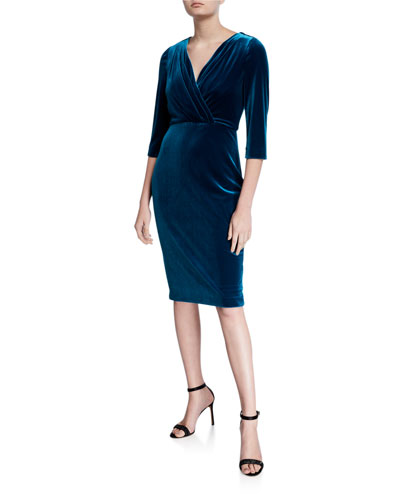 V-Neck 1/2-Sleeve Velvet Cocktail Dress