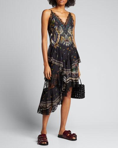 Layered-Silk Asymmetric Dress