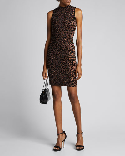 Textured Cheetah Sleeveless Fitted Dress