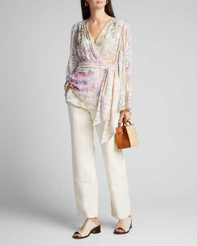 Printed Silk Wrap Blouse with Yoke