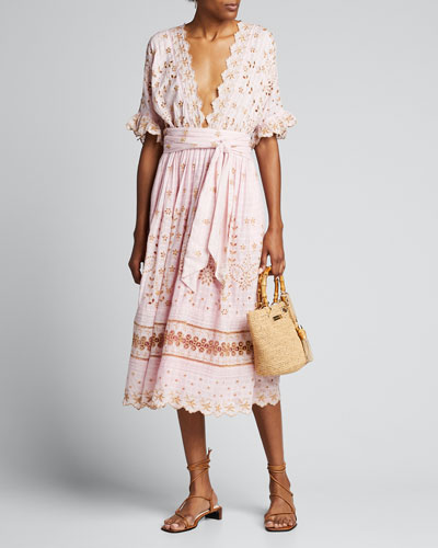 Augusta Embroidered Eyelet Plunging Midi Dress
