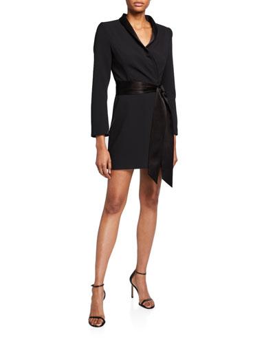 Mona Strong-Shoulder Tie-Front Suit Dress