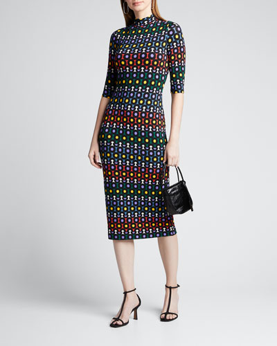 Delora Printed Mock-Neck Elbow-Sleeve Fitted Midi Dress