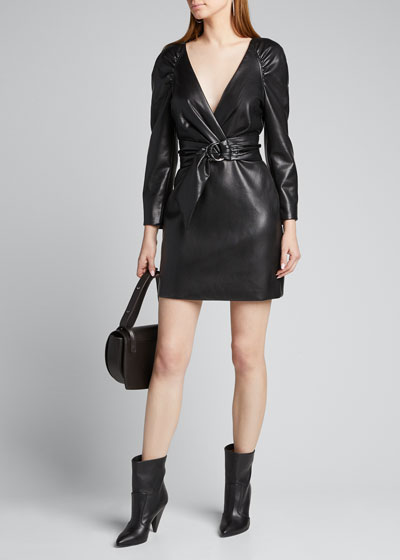 Vegan Leather Long-Sleeve Wrap Dress