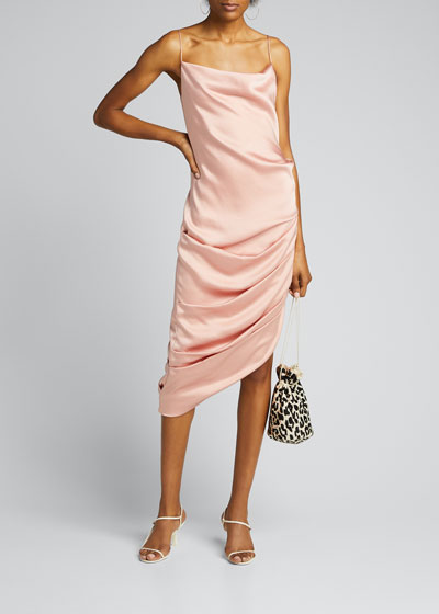 Fluid Satin Cowl-Neck Draped Dress