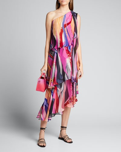 Asymmetric Tie-Neck Silk Dress