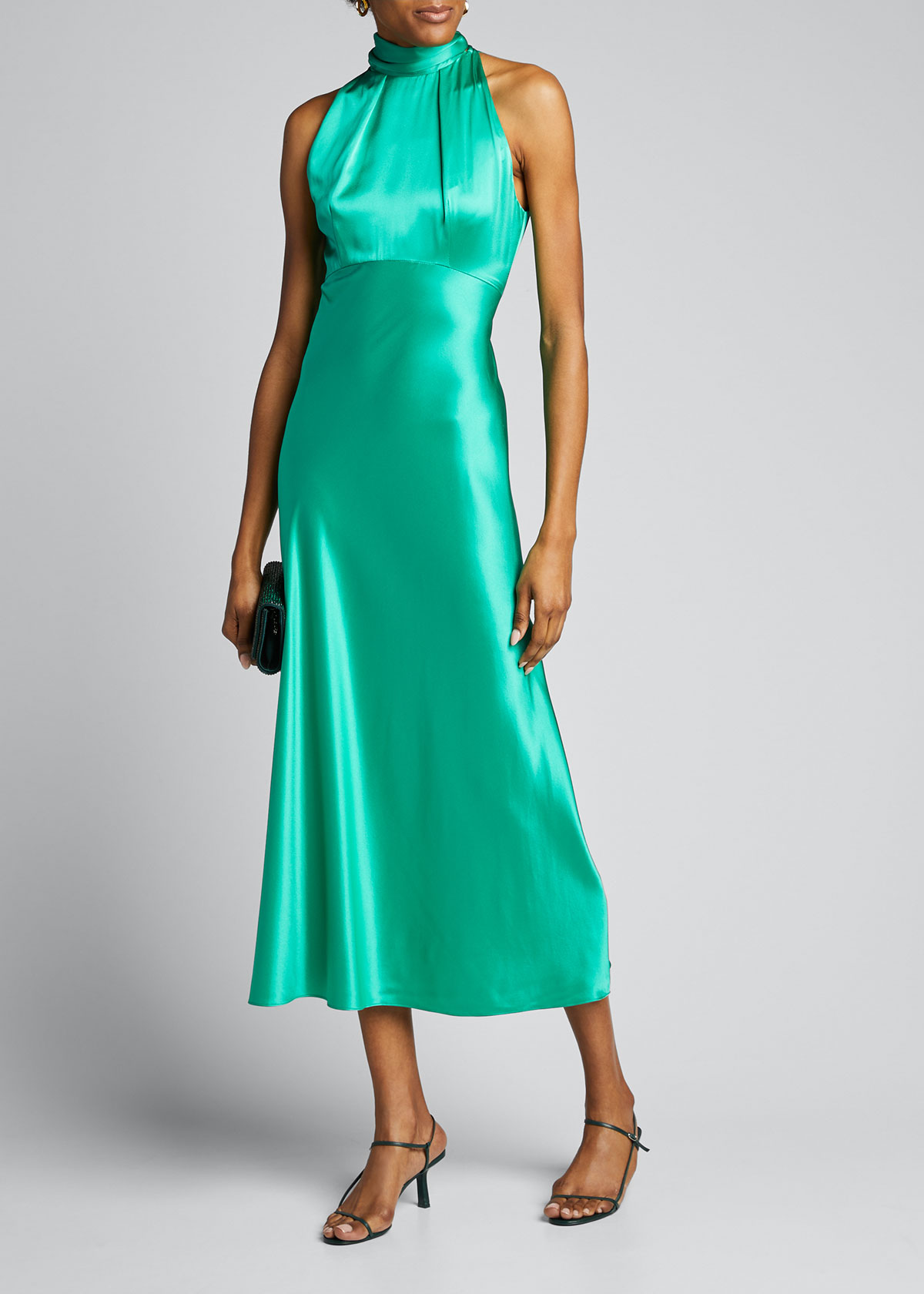 Saloni Dresses MICHELLE MIDI HALTER DRESS