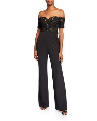 Off-the-Shoulder Lace Corset Top Jumpsuit