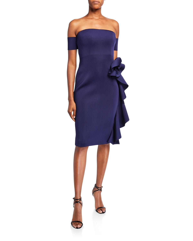 Badgley Mischka Dresses OFF-THE-SHOULDER COCKTAIL DRESS W/ CASCADING HIP FLOWER