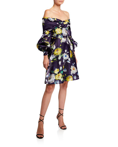 Abba Neon Floral Off-the-Shoulder Bishop-Sleeve Liquid Organza Dress