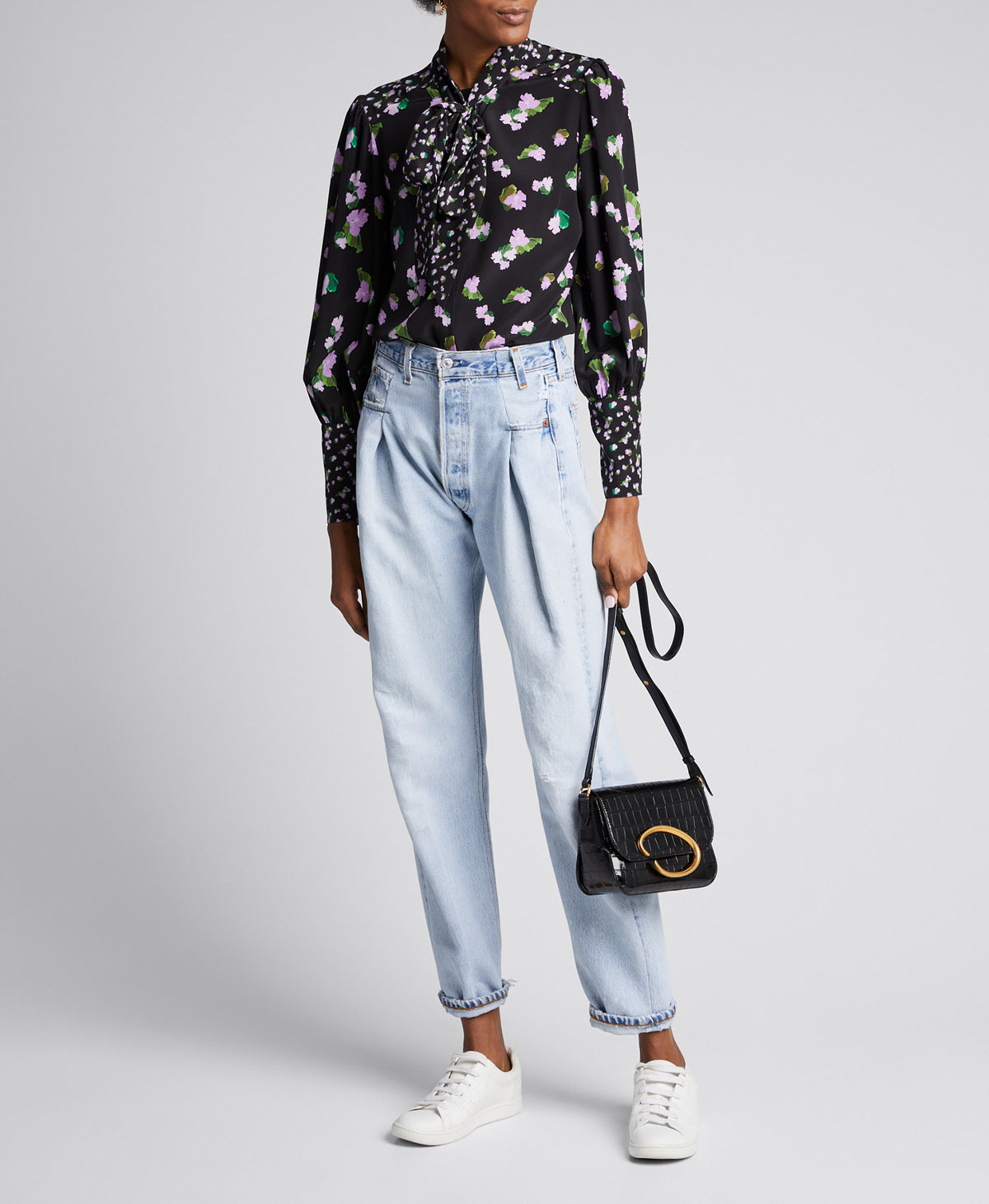 Tanya Taylor Tops SUSAN FLORAL-PRINT SILK TOP WITH NECK TIE