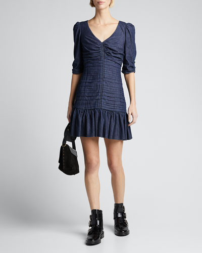 Pansy Ruched Denim Flounce Dress