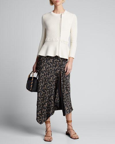 Braided Cotton Zip-Front Peplum Jacket