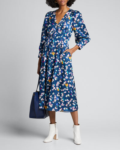 Thelma Floral-Print Button-Front Dress