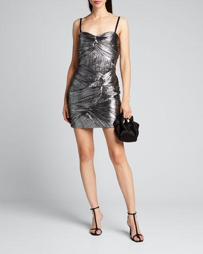 Frankie Metallic Plisse Cocktail Dress