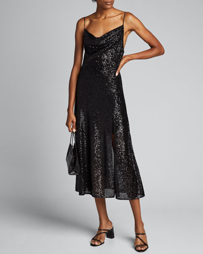 Sequin Embroidered Cowl-Neck Slip Dress