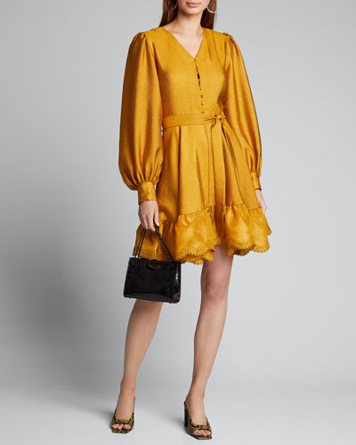 Farrow Belted Blouson-Sleeve Flounce Dress