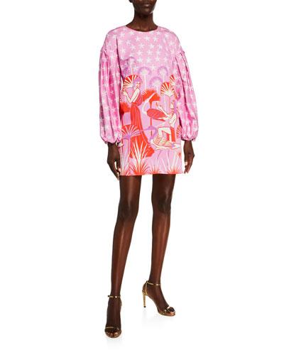 Francis Printed Blouson-Sleeve Dress