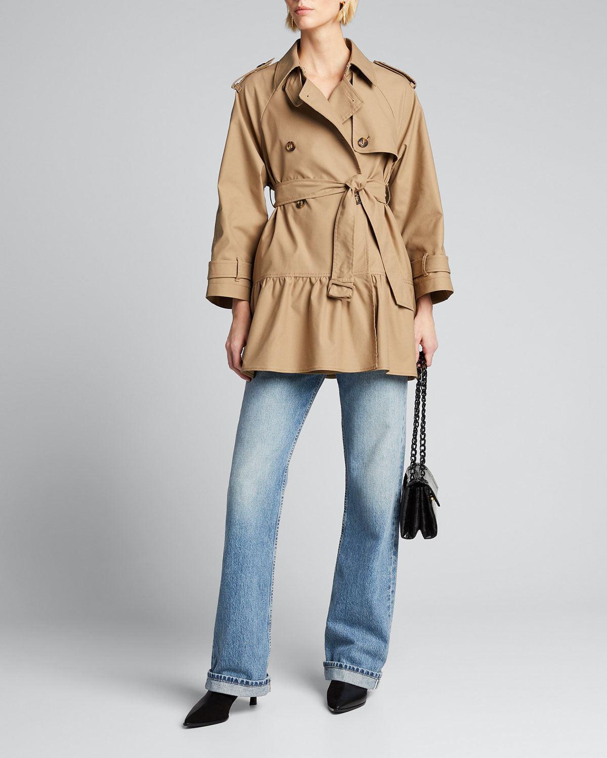 Red Valentino Coats ARMOR TECH FLOUNCE-HEM TRENCH COAT