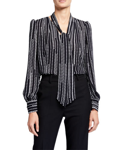 Percy Printed Tie-Neck Shirt
