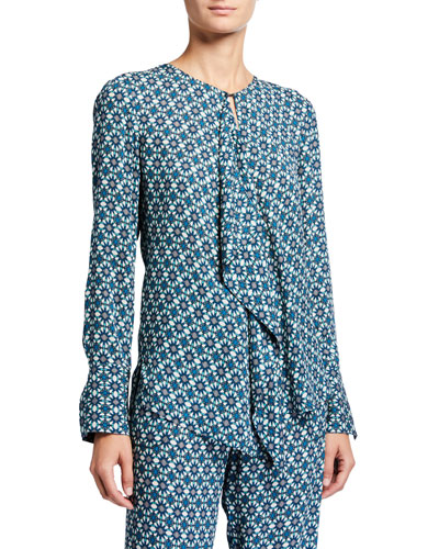 Pernilla Printed Drape-Front Long-Sleeve Shirt