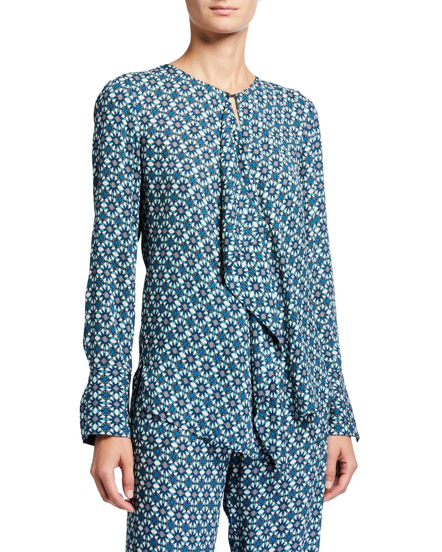Elie Tahari T-shirts PERNILLA PRINTED DRAPE-FRONT LONG-SLEEVE SHIRT