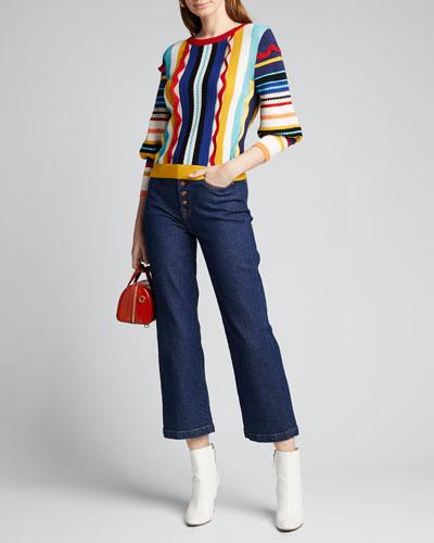 Zelma Bishop-Sleeve Pullover Sweater
