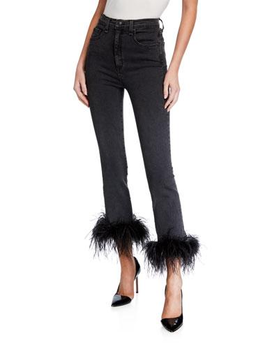 Kareena High-Rise Skinny Jeans w/ Feathers