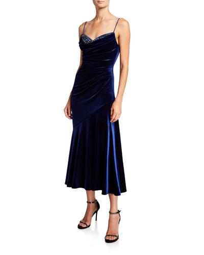 Beaded Sweetheart Velvet Midi Slip Dress