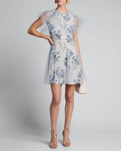 Floral-Print Short Tulle Overlay Dress