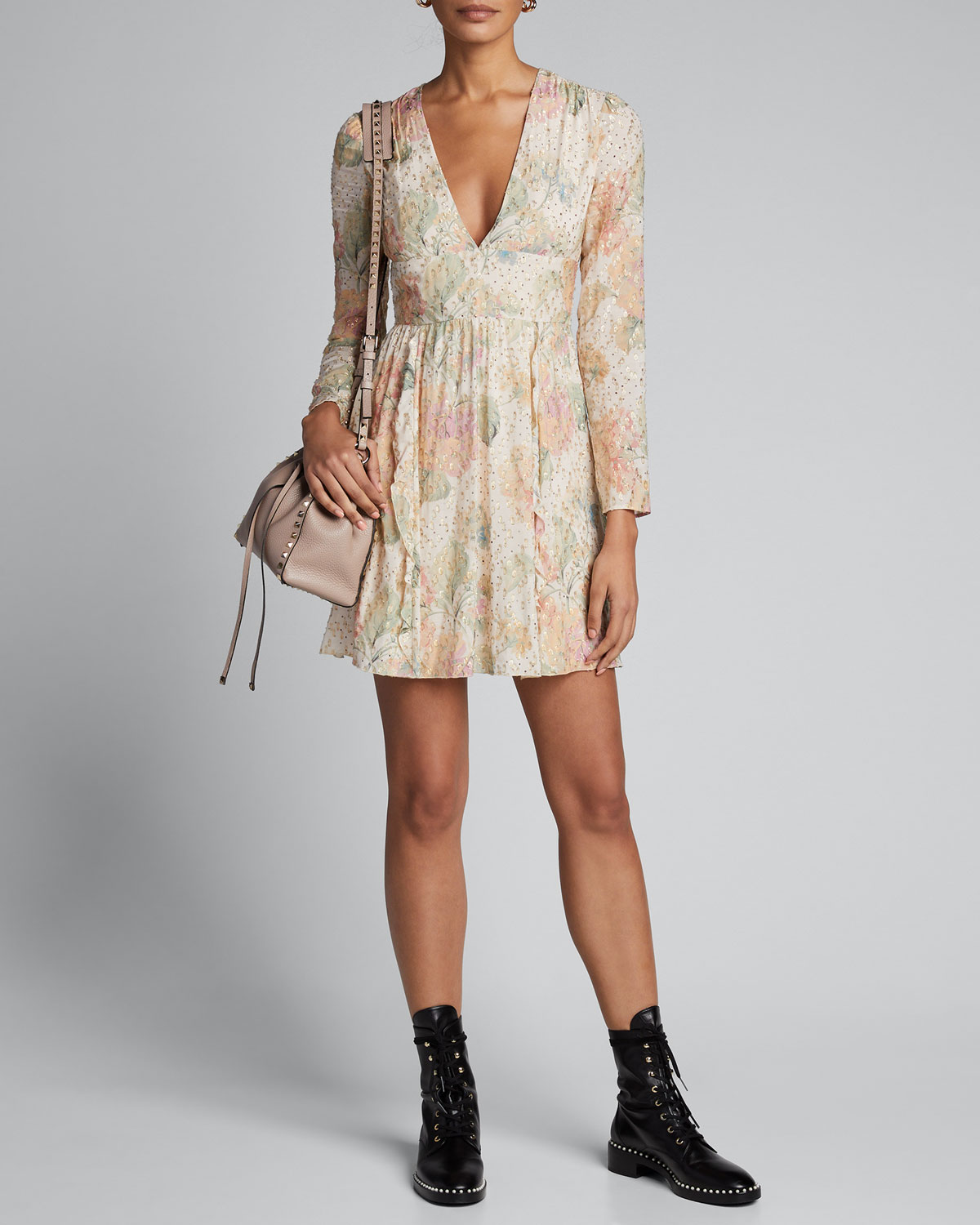 Red Valentino Floral Evanescent V-Neck Long-Sleeve Mini Dress In Rose