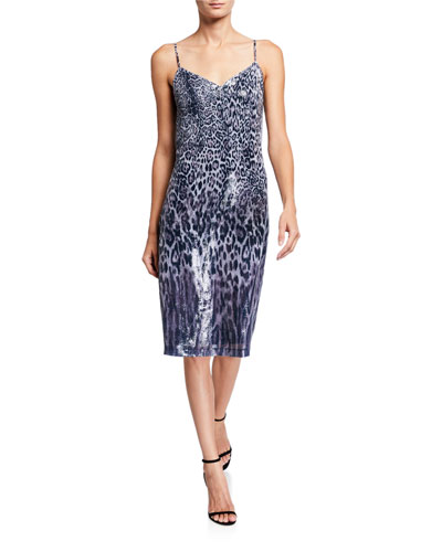 Yesmina Coated Animal-Print Slip Dress