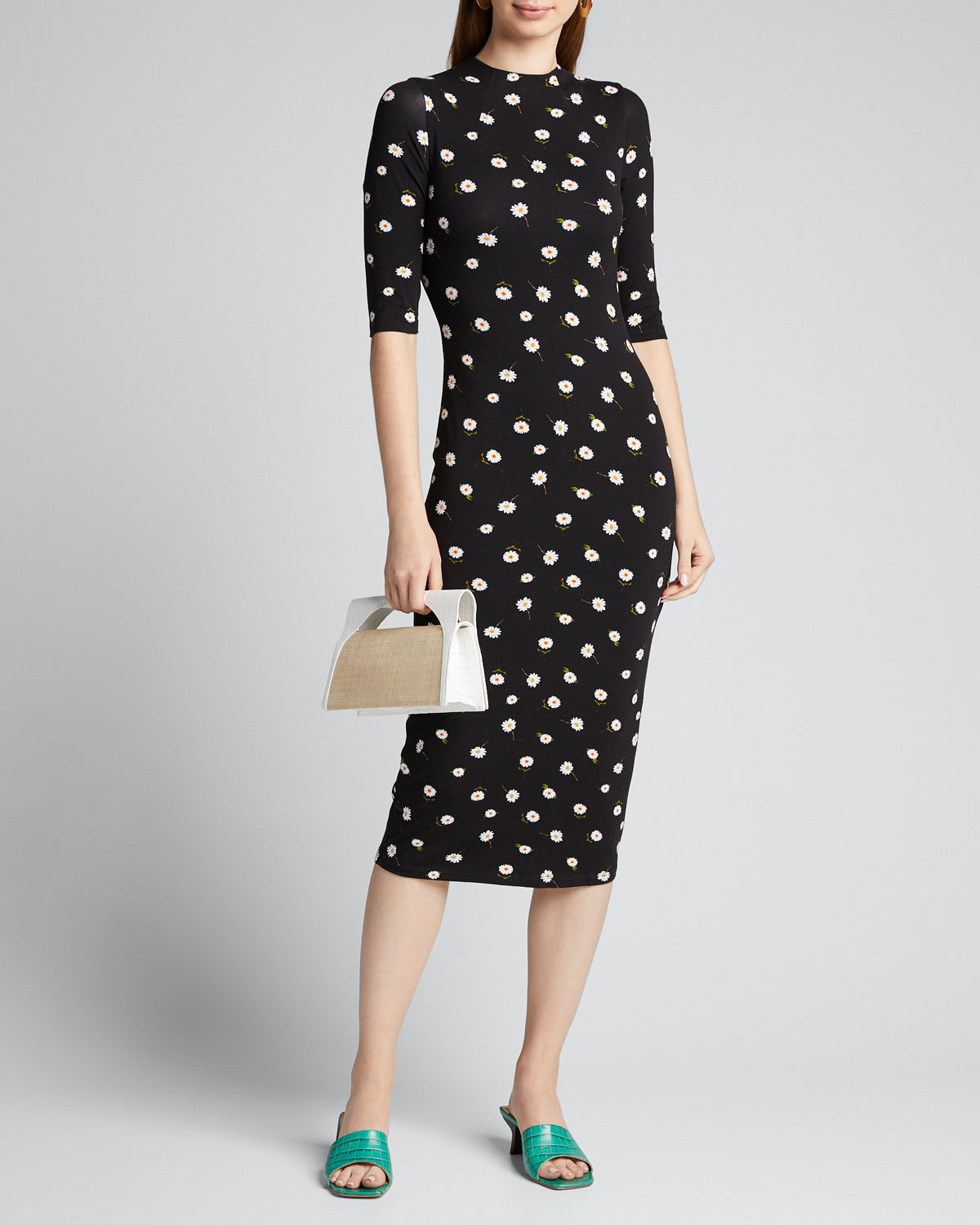 Alice And Olivia Dresses DELORA FITTED MOCK-NECK DRESS