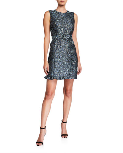 Loren Belted Circle Pattern Brocade Sleeveless Dress