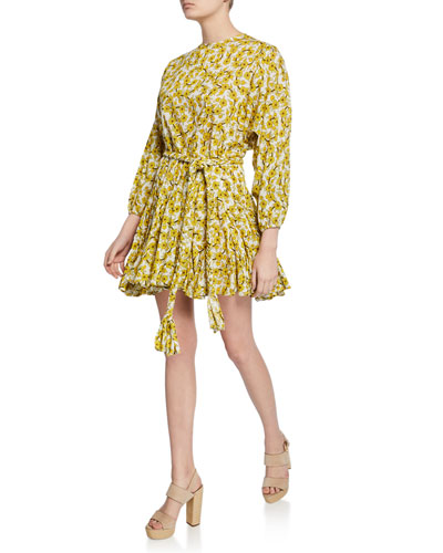 Ella Floral-Print Poplin Long-Sleeve Dress