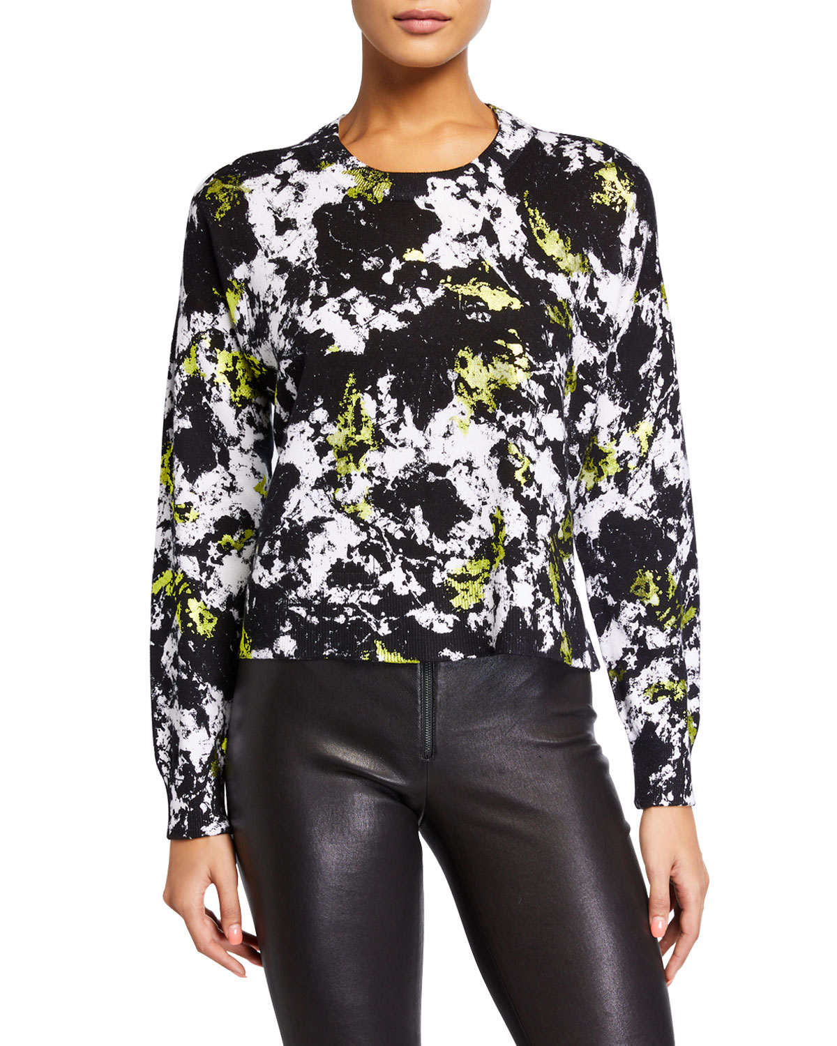 Alice And Olivia Sweaters QUINTIN PRINTED CREWNECK PULLOVER SWEATER