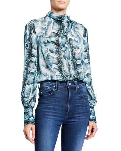 Chantal Snake-Print Tie-Neck Silk Shirt