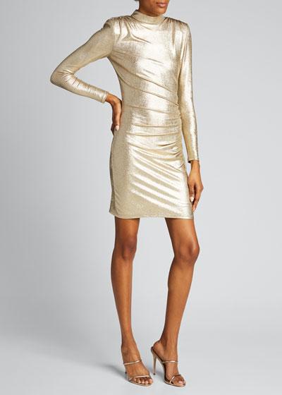 Hilary Ruched Mock-Neck Dress