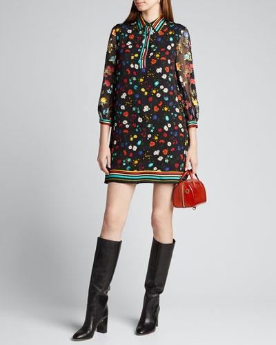 Lalita Collared Blouson-Sleeve Dress