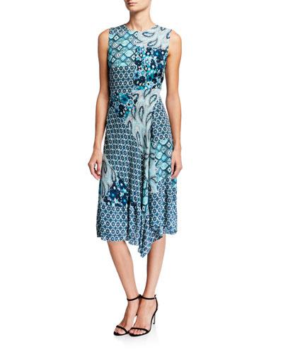Azure Mixed-Print Sleeveless Silk Dress