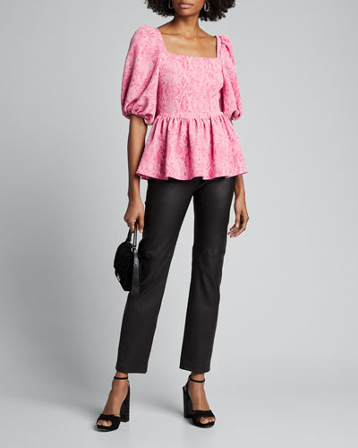 Irene Square-Neck Peplum Top, Pink