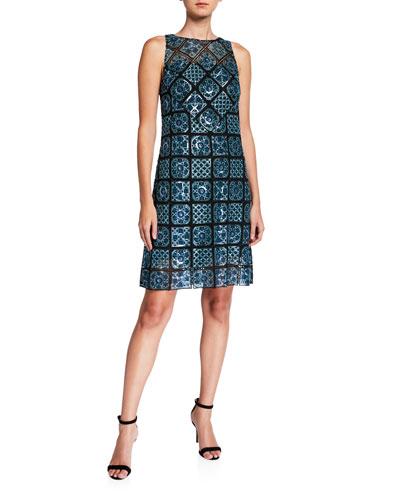 Helena Mosaic Tile Sleeveless Sheath Dress