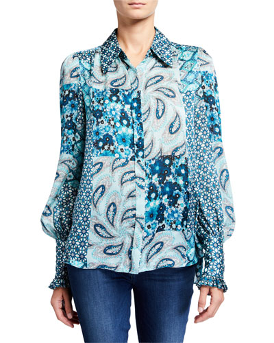 Beck Mixed Print Button-Down Silk Shirt