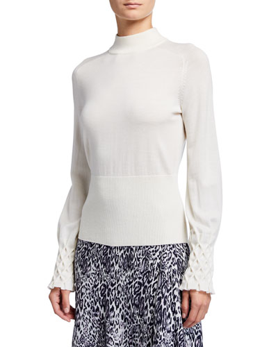 Skylar Mock-Neck Textured Cuff Merino Wool Sweater