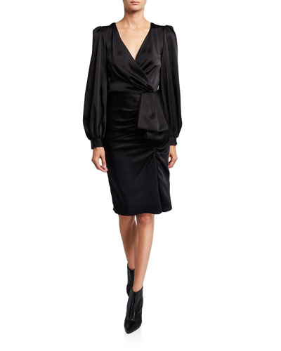 Anais V-Neck Long-Sleeve Drape Dress w/ Front Bow