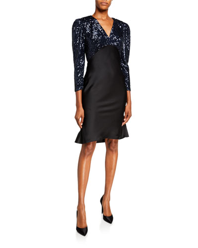Louisa Sequin Bodice V-Neck Mutton Sleeve Cocktail Dress