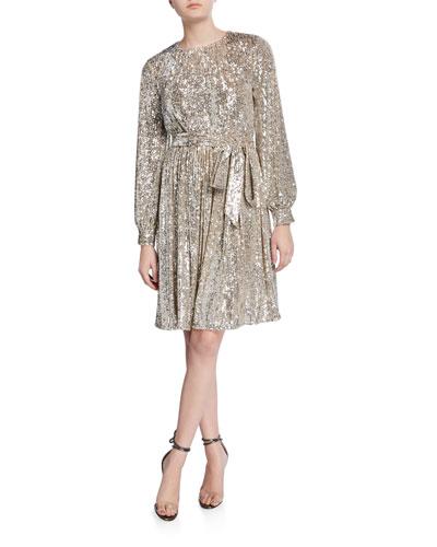 Chloe Sequin Jewel-Neck Long-Sleeve Dress