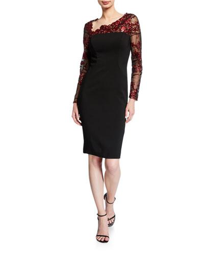 Embroidered Illusion Asymmetric-Neck Long-Sleeve Crepe Sheath Dress