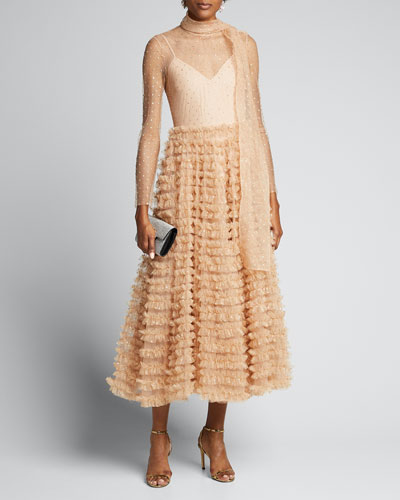 Glitter Tulle Ruffle-Skirt A-Line Dress w/ Scarf Detail